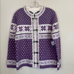 NWT Telluride Clothing 100% Wool Nordic Cardigan